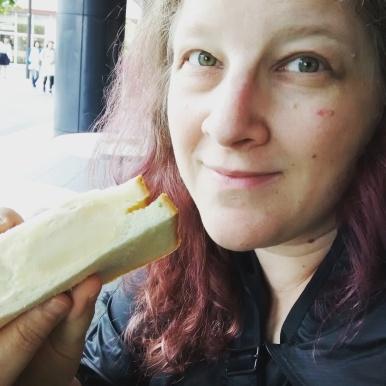 Potato salad sandwich for breakfast